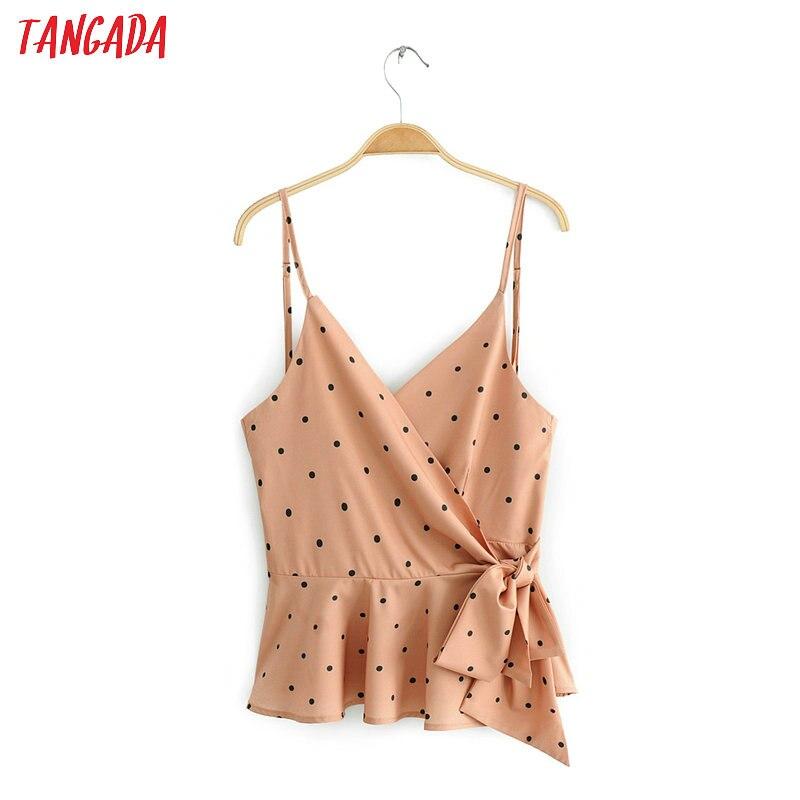 Tangada Women Polka Dot Wrap Blouses Sleeveless Europe Style Spaghetti Strap Bow Tie Shirt For Summer Sexy Tops 6C12