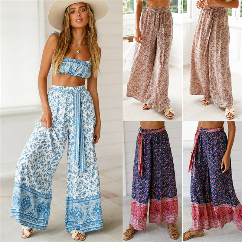 Fashion Women's Boho Floral   Wide     Leg     Pants   High Waist Belt Casual Loose Culottes Long Trousers Plus Size
