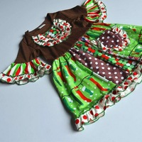 Chrismas Design With A Pocket And Short Flare Sleeves 100 Cotton Summer And Bib Baby Girls