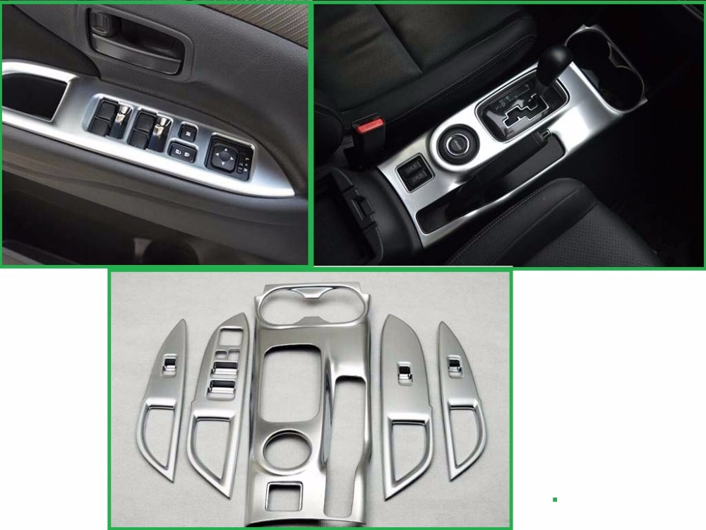 car styling gear box door interior armrest decoration frame chrome trim cover for mitsubishi. Black Bedroom Furniture Sets. Home Design Ideas