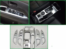 Стайлинга автомобилей шестерни коробка + дверь интерьер подлокотник украшения рамки хромированной отделкой Обложка для MITSUBISHI Outlander 2013 2014 2015 2016