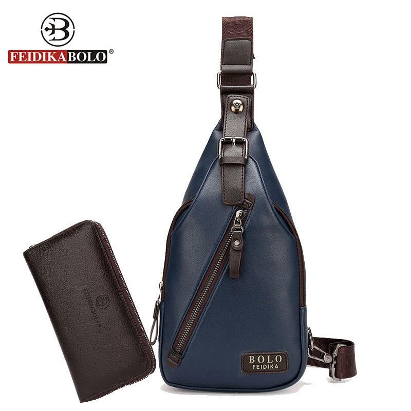 FEIDIKA BOLO Brand Bag Men Chest Pack Single Shoulder Strap Back Pack Leather Sling Bag Man Crossbody Bags Male Chest Bag