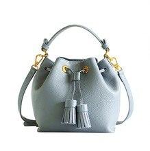 Messenger Bag 2016 new minimalist mini fringed water bag hand bag small classic brand fashion shoulder bucket handbag