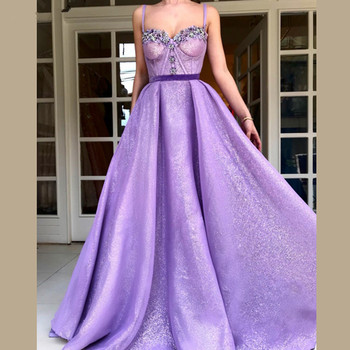 Lavender Muslim Evening Dresses 2019 A-line Sweetheart Sequins Beaded Elegant Islamic Dubai Saudi Arabic Long Evening Gown Prom