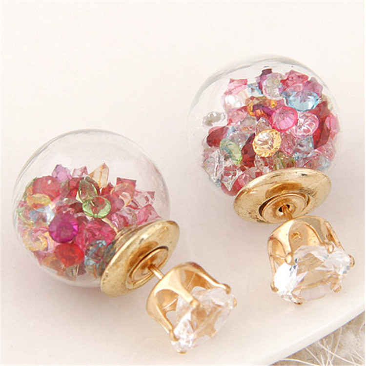 2018 New Double Crystal Earings Brincos Glass Beads Candy Color Earrings For Women Pendientes Trendy cheap