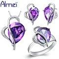 Almei Amor Prata Acessórios Bijoux Anillos Anel de Diamante Cz Brincos Colar Nupcial Engagement Coração Roxo Conjuntos de Jóias T072