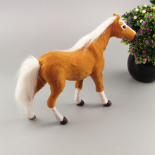Simulation yellow horse polyethylene furs horse model funny gift about 26cmx20cmx7cm