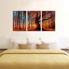 Landscape Red Forest Woods Sunset Nature Picture Large Canvas Art Print Big Trees on Mountain for Home Decor Posters and Prints