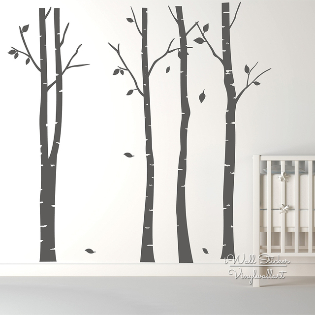 Birch Tree Wall Art Sticker Modern Large Tree Wall Decal Birch Tree Wall  Decor DIY Family
