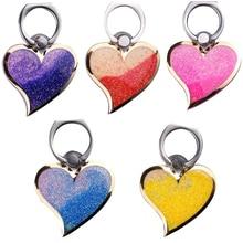Bling love heart Ring Holder Glitter Quicksand for Phone Case Cover Heart-shaped 360 Degree Finger Mobile Stand