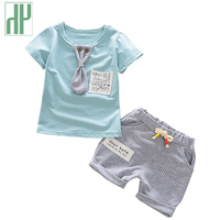 HH Baby boy clothing set gentleman suit Necktie stripe baby outfit Summer Style Short Sleeve Cotton two piece set baby clothes
