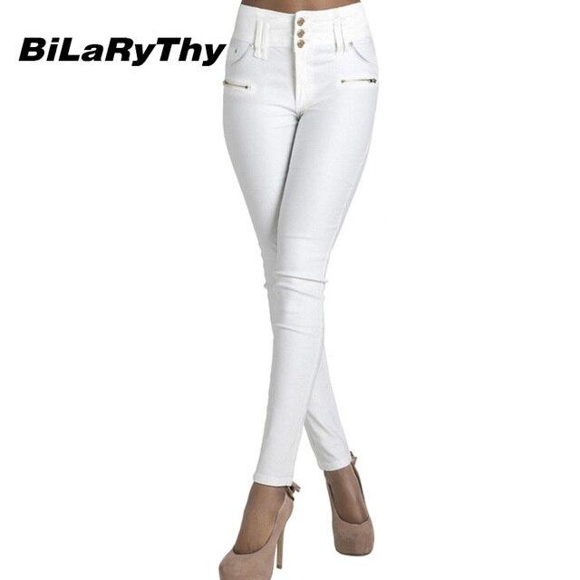Bilarythy Donna Solid Jeans Bianchi A Vita Alta Denim Stretch