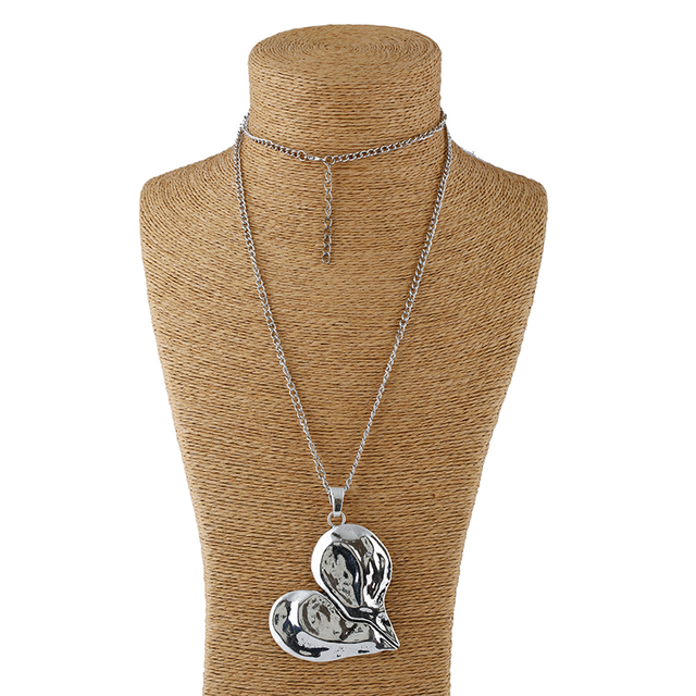 1pcs Antique Sliver Statement Large Abstract Metal Heart Pendant Long Curb Chain Lagenlook Necklace for Women 2