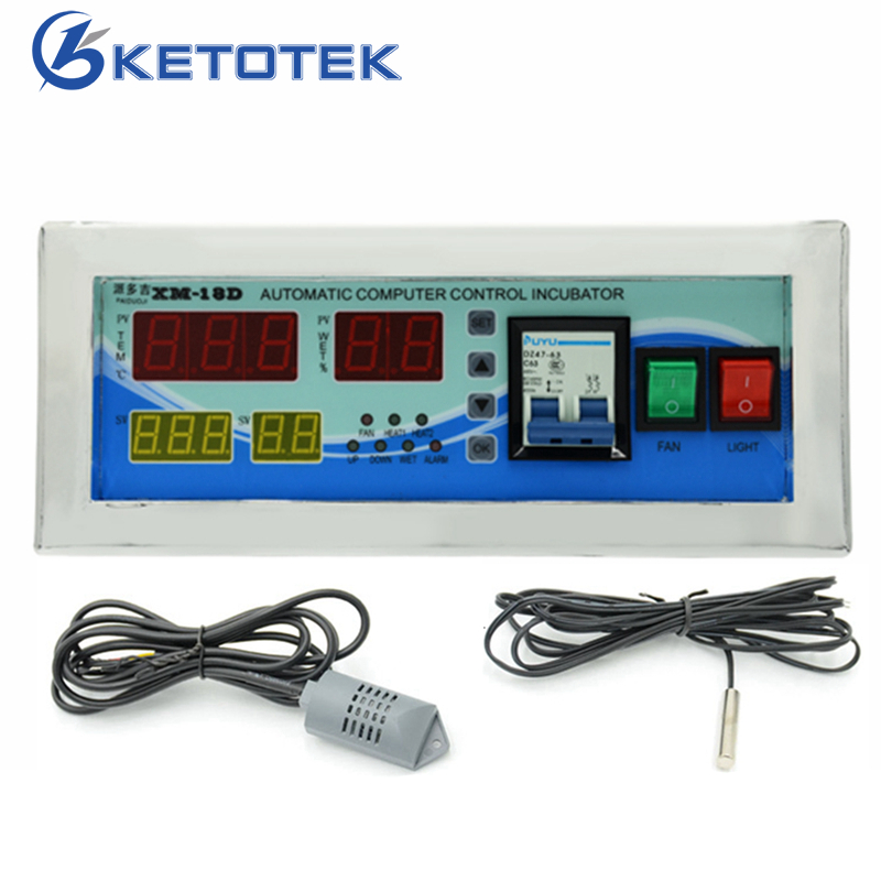 Intelligent Egg Incubator Controller Microcomputer Control Thermostat Temperature Humidity Controller With Probe radio frequency control wireless boiler thermostat temperature controller