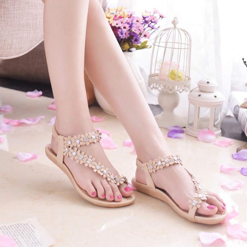 Flat Sandals Flip-Flop-Shoes Flower-Beads Bohemia Summer Women