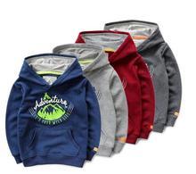 110-150 Children Sportswear Boys Terry cartoon Hooded fleece Kids Baby Hooded pullover top wholesale