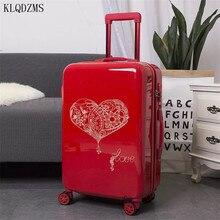 KLQDZMS 20/24 pulgadas rojo vintage maleta ruedas equipaje rodante retro mujeres carretilla maleta llevar en bolsa de viaje de boda