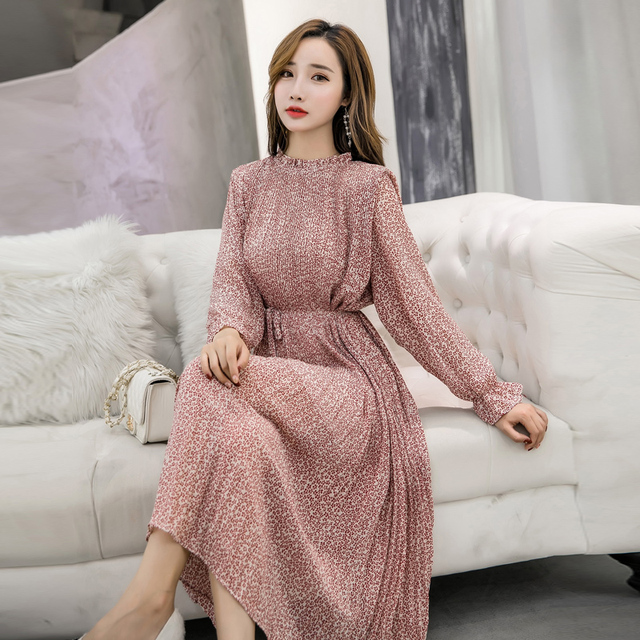 Elegant Stand Collar Floral Print Women Dress Full Sleeve Elastic Slim Waist Chiffon Spring A-line Long Dress 1