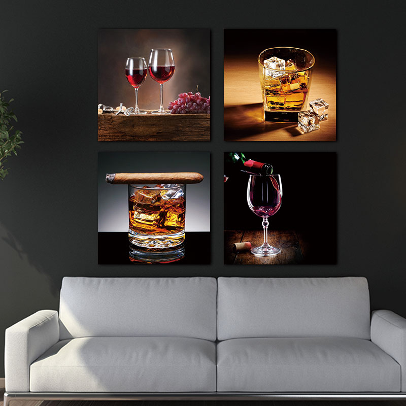 4 Piece Modern Wine and glass wall picture for Kitchen ...