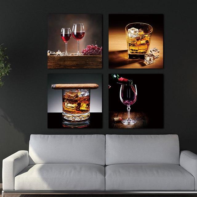 US $7.4 |4 pezzo Moderno Vino e vetro immagine della parete per la Cucina  Della Parete di Arte Poster e stampe per la Sala da pranzo moderna Della ...