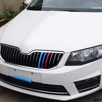 цена на Wholesale 3D Car Front Grilles Trim Sport Strips Cover For Skoda Rapid Spaceback / Rapid May06