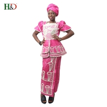 African bazin riche traditional embroidery 100% cotton short-sleeved dress