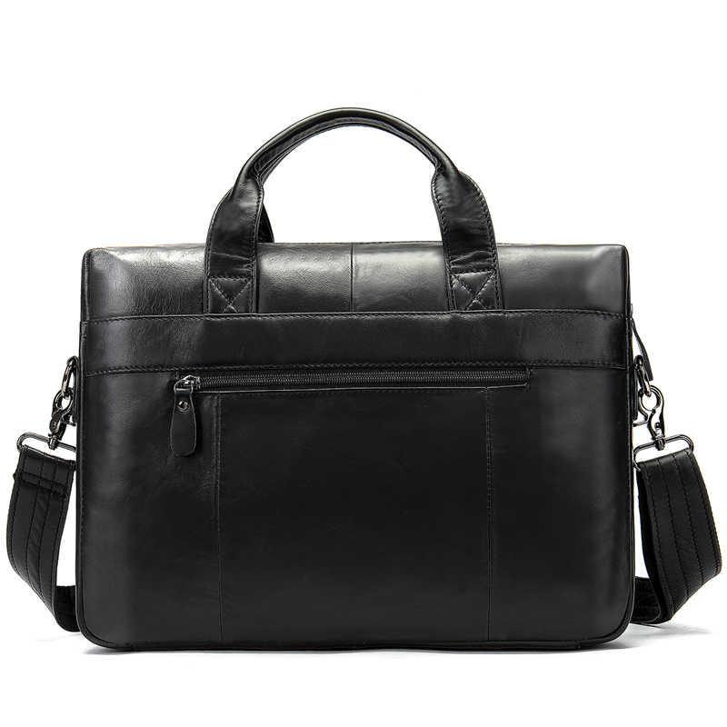 WESTAL, bolso para maletín de hombre, para Bolsos de cuero auténtico de hombre, maletín de negocios, bandolera, bolso para ordenador portátil, bolsos de cuero para oficina y pedistas.