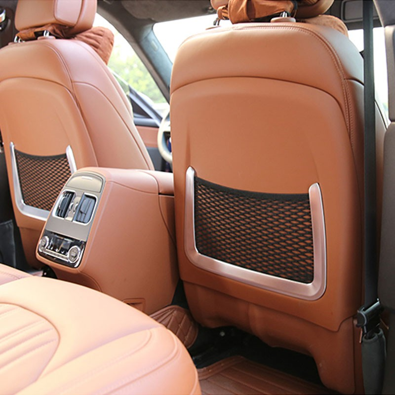 Arrière de voiture Retour Seat Net Sac Cadre Couverture Trim Fit Pour Maserati Levante 2016 Accessoires De Voiture ABS Chrome 2 pcs