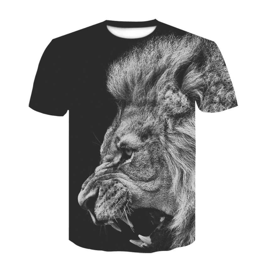 Новая горячая распродажа мужская одежда 2019 3D волк мужская футболка Летняя Повседневная рубашка с принтом плюс размер o-образный вырез короткий рукав модная футболка