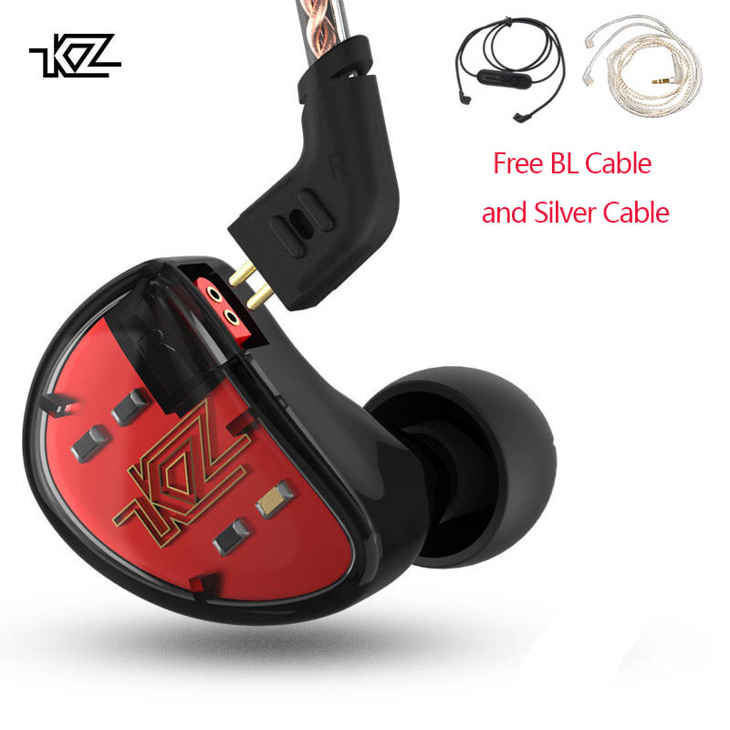 KZ AS10 Headphones 5BA Balanced Armature Driver HIFI Bass Earphones In Ear Monitor Sport Headset Noise Cancelling Earbuds original awei es q3 headset noise isolation bests sound in ear style hifi earphones for phone mp3 mp4 players 3 5mm jack