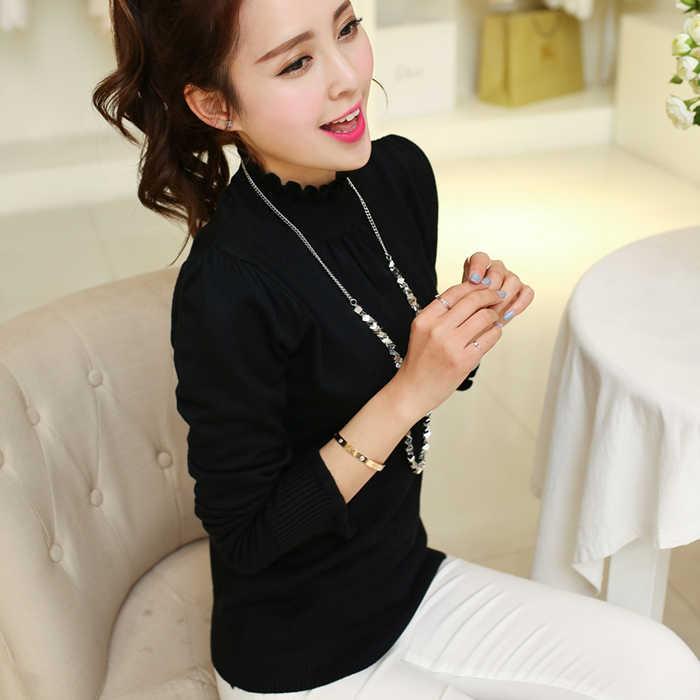 Женский свитер-пуловер с длинным рукавом, женские свитера с высоким воротом, вязаные шерстяные тонкие пуловеры, женские топы, черный/белый E0424