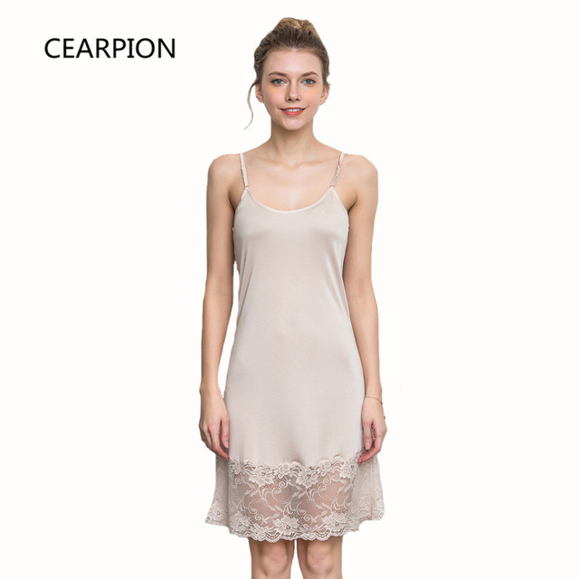 02de2f2f03 CEARPION Solid Color Lace Sexy Suspender Nighty Sleepwear Female Soft Home  Dressing Gown Casual Intimate Lingerie Nightdress