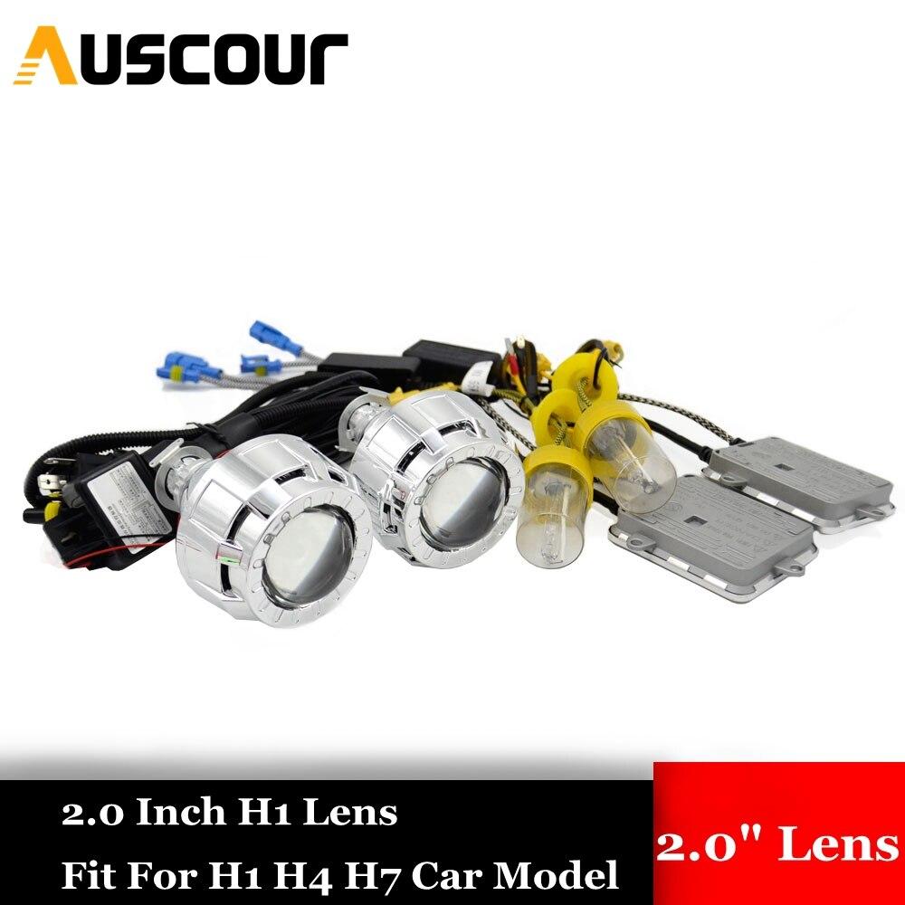 2 pièces 2.0 pouces voiture Bi xénon H1 lentille De Projecteur avec haubans masque H1 H4 H7 caché kit xénon ballast ampoule phare voiture style Modifier