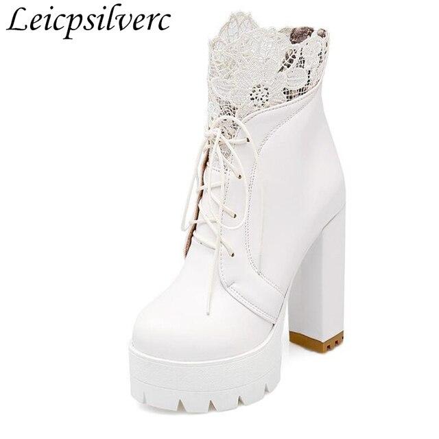 62719ff1de71f Retro czarny biały koronki Martin buty jesień zima buty damskie wodoodporna platformy  wysoki obcas grube dno