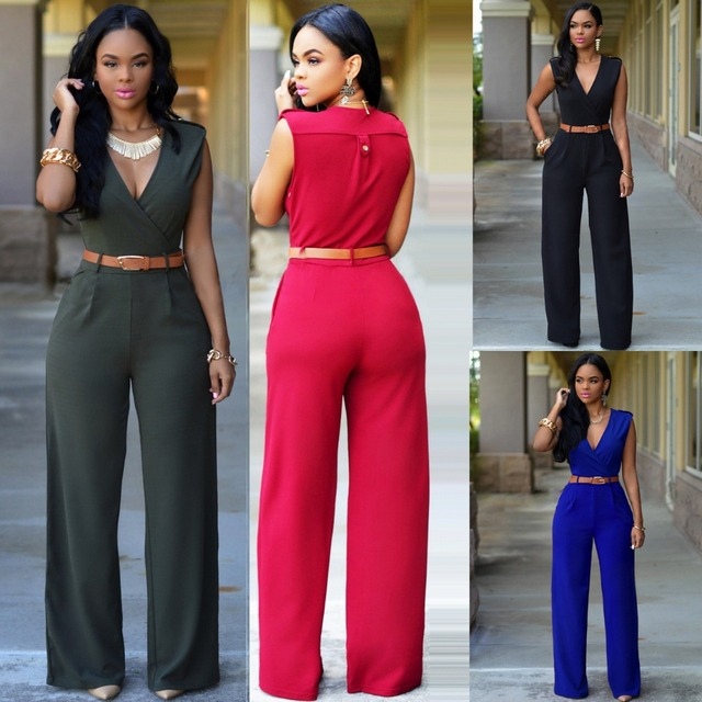2016 New Hot Women Rompers Brands Fashion Sleeveless Slim Loose Casual women's Jumpsuits Colors Get belt