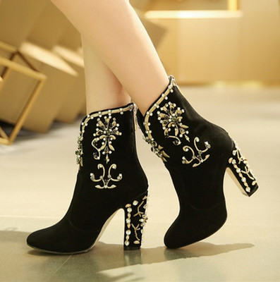 Women Luxury Round Toe Bling Bling Embroidery Rhinestone Chunky Heel Short Boots Beaded Sewed Crystal Thick Heel Ankle Booties crystal suede nude pink chunky heel ankle boots women round toe autumn winter super high heel booties rhinestone fleeces shoes