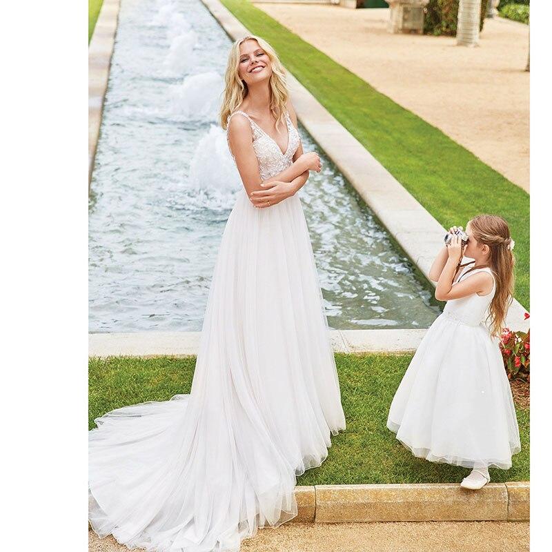SOFUGE Boho Wedding Dress 2019 V Neck Backless Appliques Lace A Line Tulle Vintage Bride Dress Beach Wedding Gown