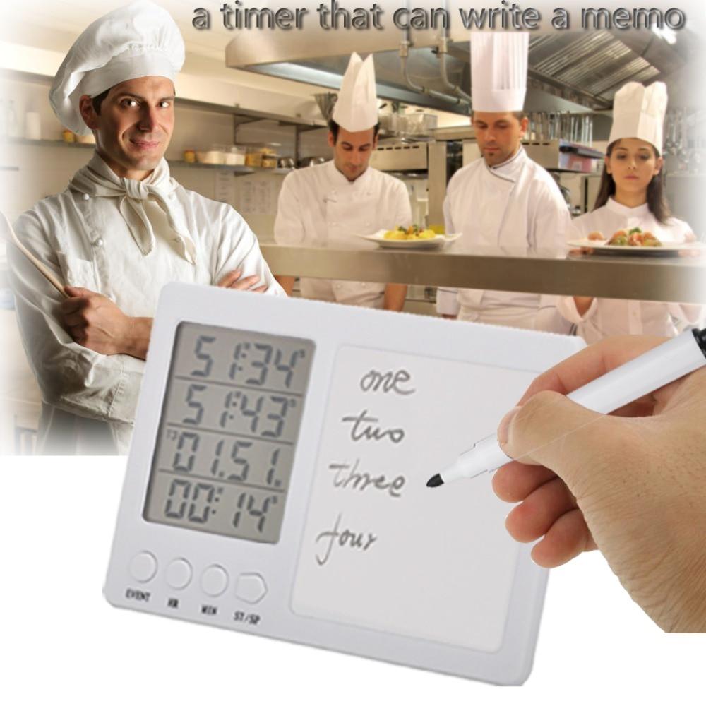 Дигитални кухињски тајмер, тајмер за кухање, гласно, руком писана верзија, магнет, постоље, бело