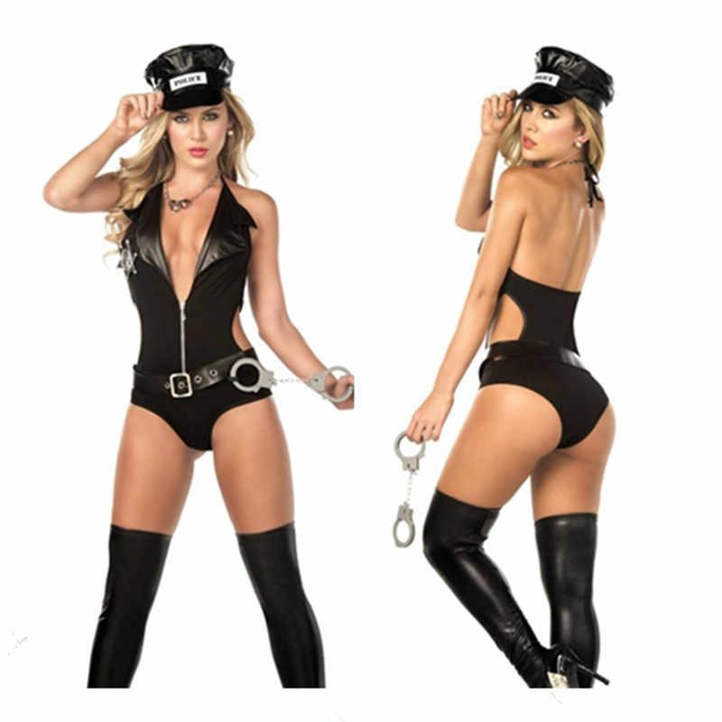 Горячее сексуальное платье для взрослых Синий Полицейский эротический комбинезон Униформа костюм женщины-полицейского форма полицейского черные костюмы на Хэллоуин для женщин