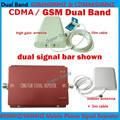 Mini Dual Band GSM 900MHZ+CDMA 850MHZ Repetidor Sinal Celular 70dB Gain GSM Cellular Signal Booster Repeater + Antenna Full Sets