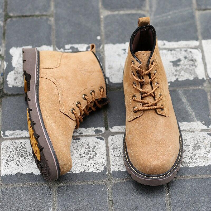 Chaussures de sécurité pour hommes respirant daim Martin bottes hommes tendance britannique outillage chaussures en caoutchouc semelle extérieure hommes Vintage bottes décontracté - 2