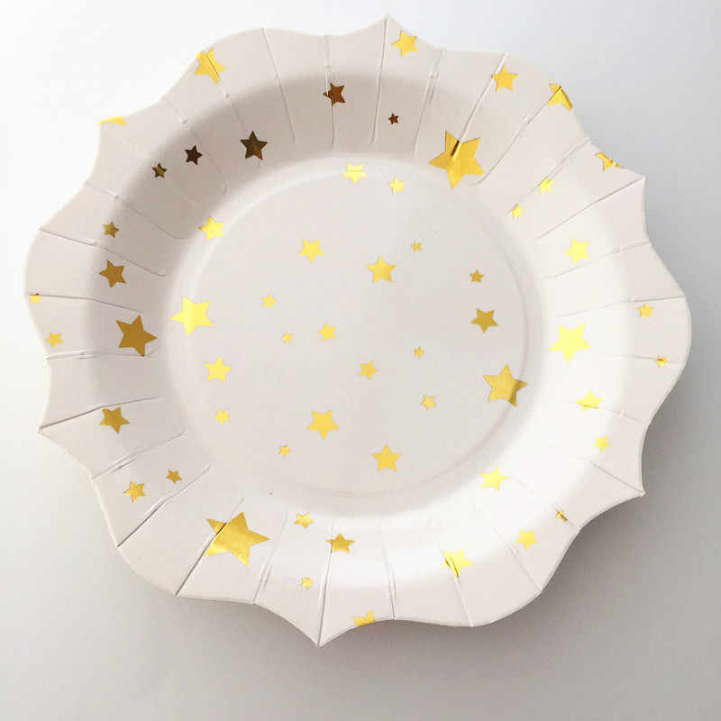 16Pcs Gold Starแผ่นกระดาษโรงเรียนสำเร็จการศึกษาBoyสาวจานเค้กแต่งงานวันเกิดBaby Showerปีใหม่อุปกรณ์