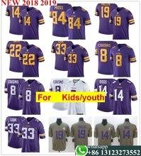 youth kids s Minnesota Kirk CousinsAdam Thielen Harrison Smith Stefon Diggs  Dalvin Cook Randy Moss Anthony Barr football jerseys cc5f2fbc3