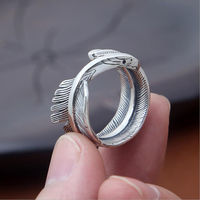100% Real 925 Sterling Silver Takahashi Goro Ring Eagle Feathers Thai Silver opening men&women Ring Fine Jewelry Christmas Gifts