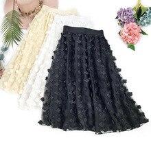 Wasteheart Spring Women Fashion Black Skin Skirt High Waist Mesh Ruffles Mid-Calf Long Clothing A-Line Chiffon
