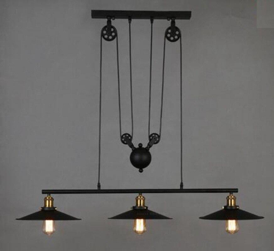 Loft Vintage Adjustable Pulley Pendant Lamps Kitchen Hanging Lamp LED Hanglamp Retro Industrial Wrought Iron Light Lamps Fixture loft vintage pendant lamp wrought warehouse iron light fixture the wheels chandeliers coffe shop