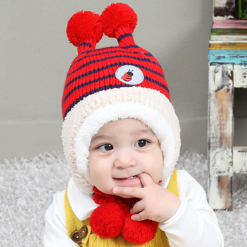 ce316213f4e Hot Sale Autumn Winter Bee Cashmere Children s Hat New Baby Hat Ball Cap  Baby Earmuff Hats-in Hats   Caps from Mother   Kids on Aliexpress.com