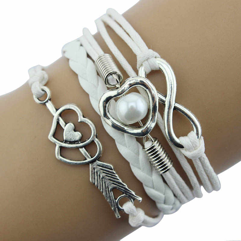 Gofuly Retro DIY Infinity Fashion Leather Handcuffs Love Heart Pearl Friendship Antique Braided Wristband Bracelet