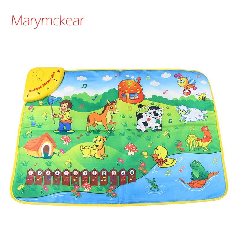 Music Mat Farm Animal Theme Piano Juguete Brinquedos De Madeira Baby Music Play Mat Baby Piano Educational Toys Musical Rug