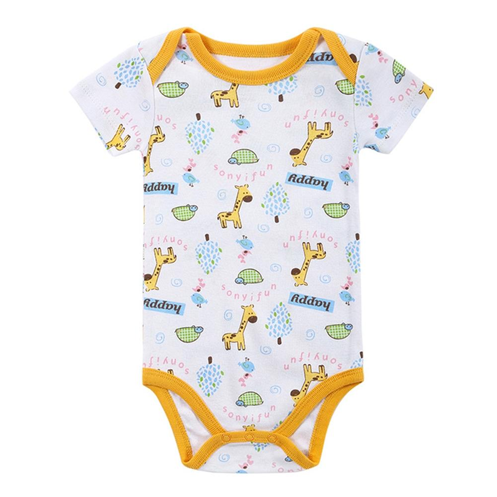 KIDLOVE 5PCS Baby Boys Girls Cotton Triangle Romper Stylish Short Sleeve Printed Jumpsuits Christmas New Year Clothes Gift ZK30